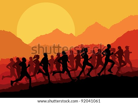 Marathon runners in wild nature mountain landscape background illustration vector