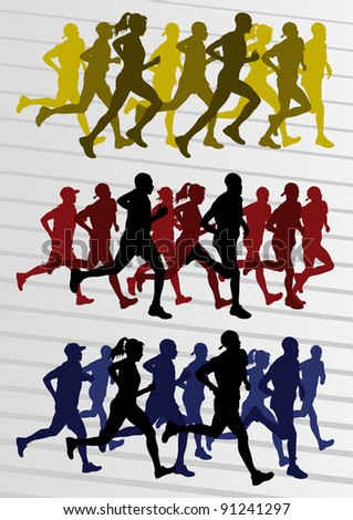 Marathon runners people silhouettes illustration vector collection - stock vector
