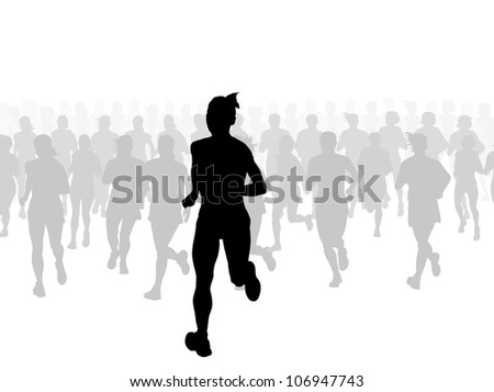 Marathon runners vector background with leader