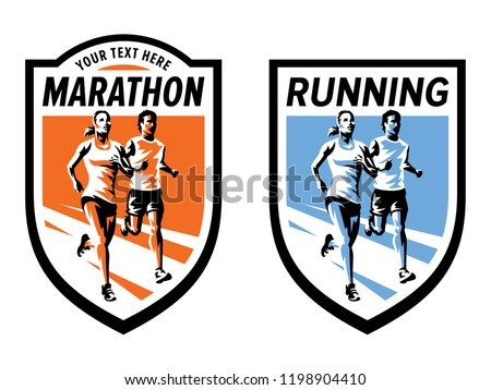 Marathon running sports logo set. Vector illustration with running woman and man.