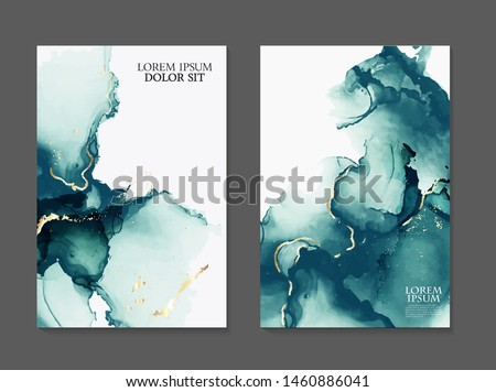 Marble card presentation, flyer,  invitation card template design, green, blue tender decoration isolated on white  background, vintage style decoration 2019