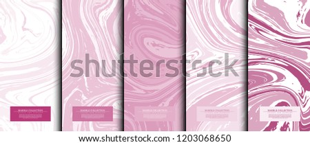Marble collection abstract liquid pattern texture pink background card template vector design
