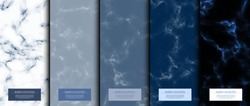 Marble collection abstract pattern texture, navy blue background card template vector design