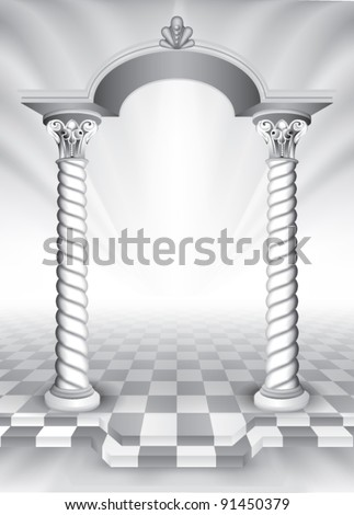 marble columns with archway