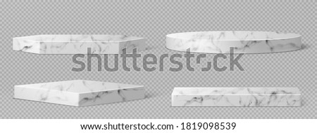 Marble pedestals or podium, abstract geometric empty museum stages, stone exhibit displays for award ceremony or product presentation. Gallery platform, blank product stands, Realistic 3d vector set