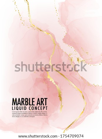 Marble pink background Vector. A;cohol ink golden texture. Acrylic template for wedding, invitation, poster, web banner, greeting card, pattern, wallpaper illustration.