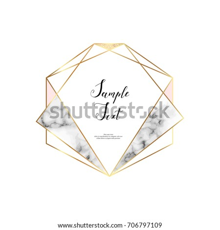 Marble polygonal frame. Gold glitter triangles, hexagon, geometric shapes. Diamond shape. Chic template for design, print, poster, card, invitation, party, birthday, wedding, save the date, business.