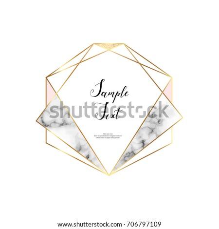 marble polygonal frame gold