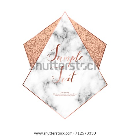 Marble polygonal frame with copper glitter triangles, crystal and geometric shapes.