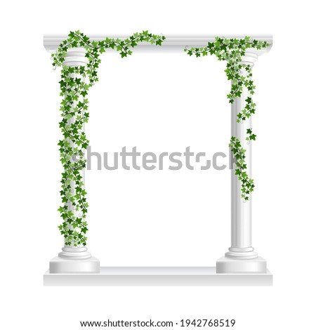 Marble roman arch with columns at green ivy creeper isolated on white background. Temple frame with stone pillars in climbing vine. Realistic 3d vector illustration of crept plants on architecture Foto stock ©