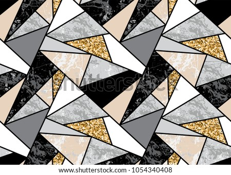 Marble seamless background with geometric shapes and gold glitter. Diamond pattern. Template for textile, apparel, card, invitation, wedding etc.