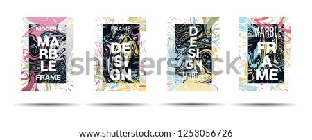 Marble Texture Dynamic Frame Vector Layout. Suminagashi Hologram Liquid Paint Ad, Music Poster, Motivational Card, Cover Background. Gradient Overlay Border, Fluid Liquid Shape Vector Marble Texture #1253056726