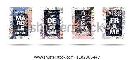 Marble Texture Dynamic Frame Vector Layout. Suminagashi Liquid Paint Ad, Music, Party Poster, Motivational Card, Cover Background. Gradient Overlay Border, Abstract Vector Marble Texture Design #1182905449