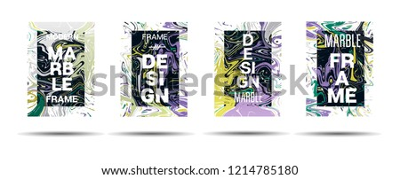 Marble Texture Motion Frame Vector Layout. Suminagashi Neon Holo Liquid Paint Ad, Music Poster, Motivational Card, Cover Background. Gradient Overlay Border, Corporate Identity Vector Marble Texture #1214785180