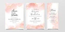 Marble watercolor wedding invitation card template set with golden line decoration. Peach abstract background save the date, invitation, greeting card, multi-purpose vector