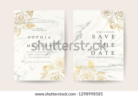 Marble Wedding invitation. Design with White Marbling background and golden rose decoration. Can be adapt to covers design, RSVP, brochure, Packaging, Magazine, Poster and Greeting cards. Vector