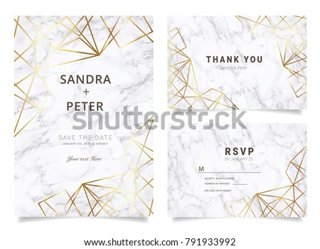 Marble Wedding Invitations set  for Design  Thank you card , RSVP Stationary with marble vector cover.