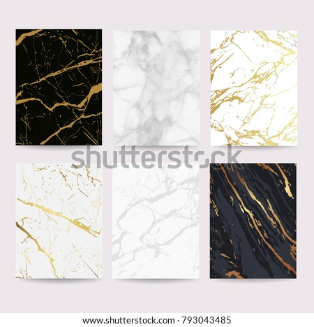 Marble with golden texture background vector illustration set