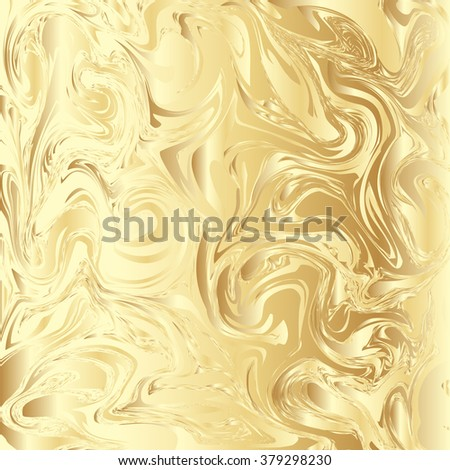 Marbling stylized background, golden pattern. Abstract ink, acrylic decoration. Vector ink texture. Watercolor marbling illustration. #379298230