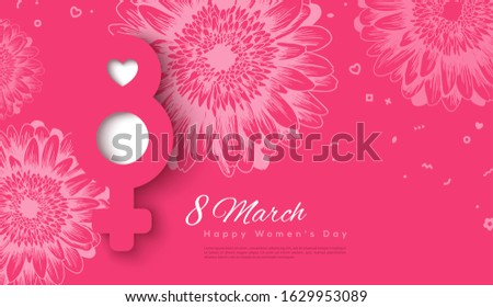 march 8 and female symbol in