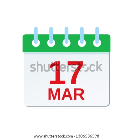 March 17 calendar icon. Saint Patrick's Day reminder calendar. Vector. Green calendar planner holiday date isolated on white background. Color illustration in flat design.