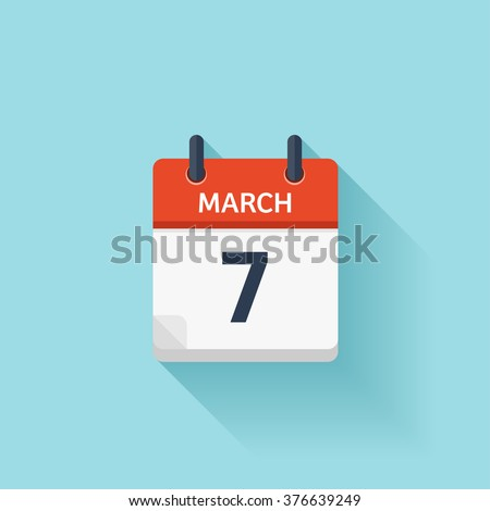 March 7.Calendar icon.Vector illustration,flat style.Date,day of month:Sunday,Monday,Tuesday,Wednesday,Thursday,Friday,Saturday.Weekend,red letter day.Calendar for 2017 year.Holidays in March.