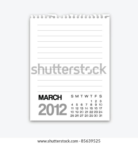 March calendar 2012 on note paper