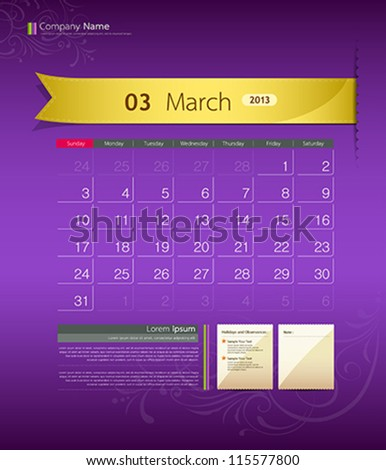 March 2013 calendar ribbon design vector illustration