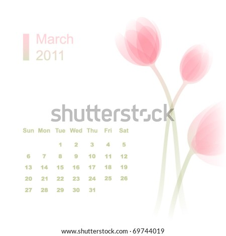 March 2011 calendar with tulip flowers