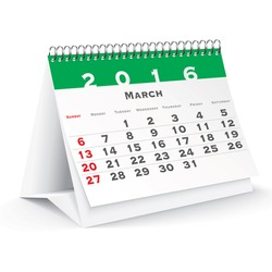 March 2016 desk calendar - vector illustration