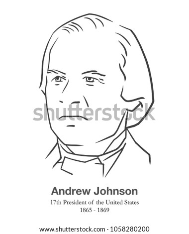 MARCH 28, 2018: Editorial portrait of Andrew Johnson, 17th President of the United States in black and white
