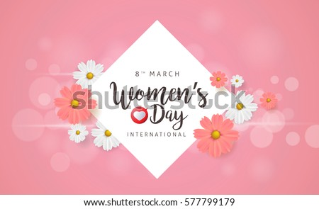March 8 greeting card. Background template for International Women's Day. Vector illustration.