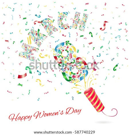 march 8 international happy womens day background template with many falling tiny confetti pieces