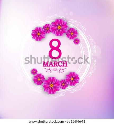 Shutterstock March 8 label with flowers on blurred background