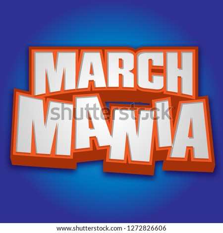 March Mania Madness Orange Basketball Headline on Blue Vector Art Foto d'archivio ©
