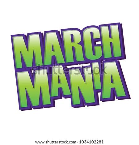 March Mania Purple Green Vector Headline Foto d'archivio ©