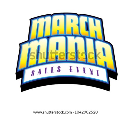 March Mania Sales Event Yellow Center Vector Headline Foto d'archivio ©