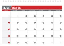 March 2016 planning calendar