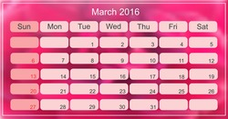 March 2016. Planning calendar for march 2016. Vector illustration.