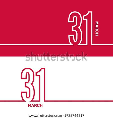March 31. Set of vector template banners for calendar, event date. Zdjęcia stock ©