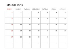 March 2016 - Vector calendar template design for planning. Week start from Sunday.