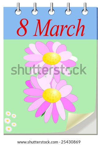 March 8 Vector Greeting Card with   flower composition as 8 number