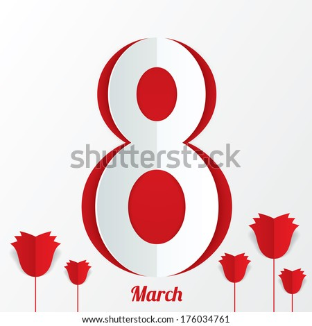 March 8 Women's Day card with roses on white background. Cut from paper. Vector illustration
