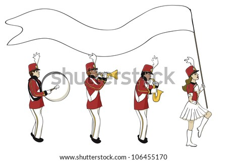 Marching band with a blank banner - stock vector