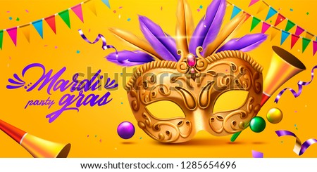 Mardi gras banner with golden mask and party horn in 3d illustration