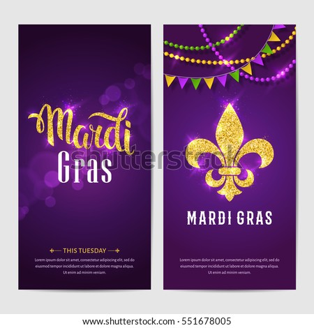Mardi Gras brochures. Vector logo with hand drawn lettering and golden fat tuesday symbols. Greeting cards with shining beads on traditional colors background.