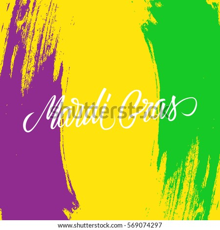 Mardi Gras calligraphic lettering design card template with brush stroke background. Creative typography for holiday greetings and invitations. Vector illustration.