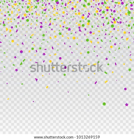 Mardi Gras carnival confetti seamless background. Traditional colors yellow, purple, green. Stock vector illustration