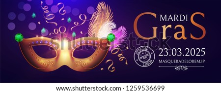 Mardi Gras Carnival Flyer Template with Mask. Vector illustration
