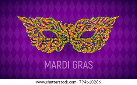 Mardi Gras carnival mask on purple background. Eps8. RGB. Global colors